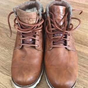 UGG brown leather lace up casual boots Men's 11